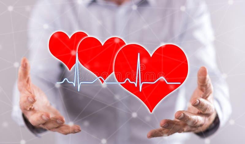 Concetto di un grafico dei battiti cardiaci immagine stock
