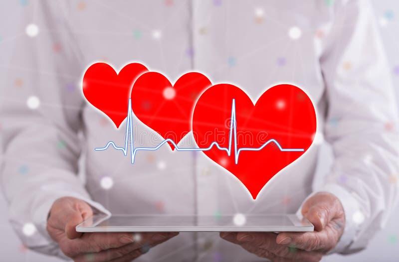 Concetto di un grafico dei battiti cardiaci fotografia stock libera da diritti
