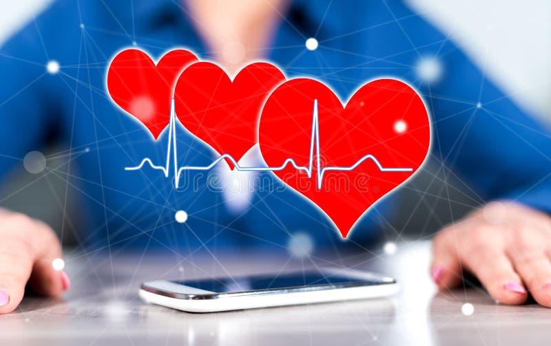 Concetto di un grafico dei battiti cardiaci fotografia stock