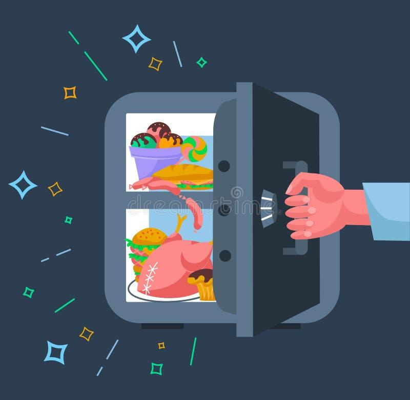 Concetto di uno stile piano di srefrigerator di dieta royalty illustrazione gratis