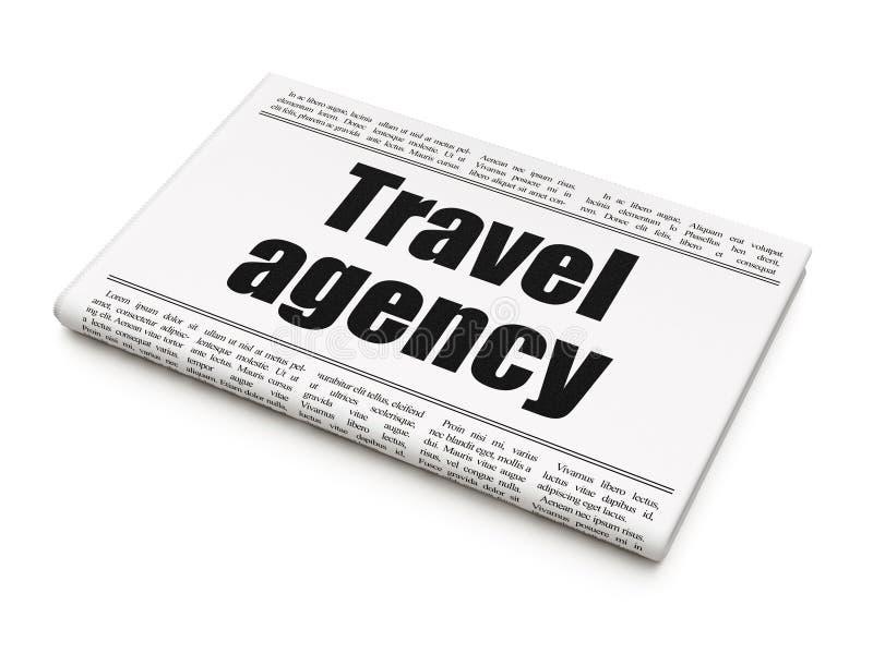 Concetto di vacanza: agenzia di viaggi del titolo di giornale illustrazione di stock