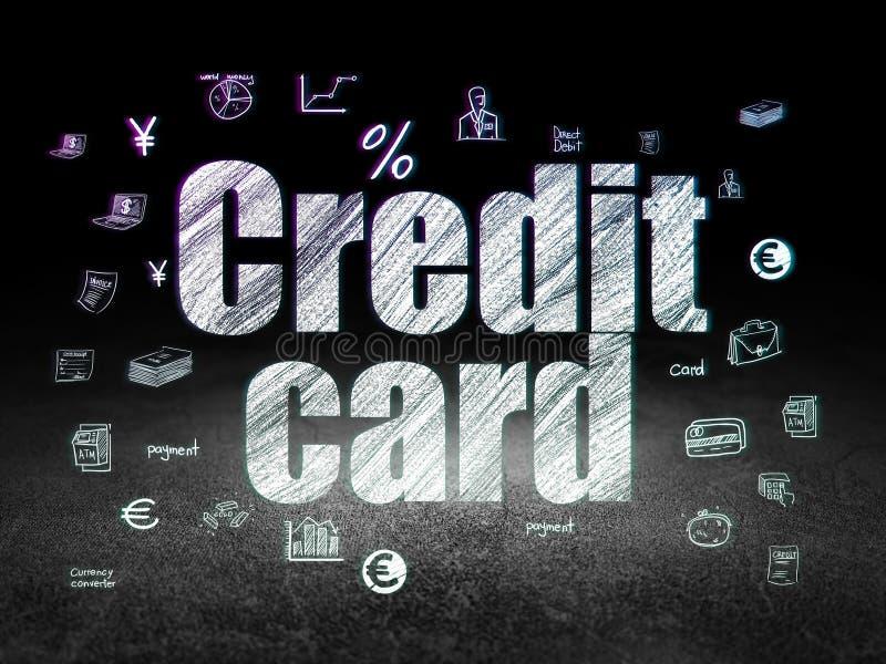 Concetto di valuta: Carta di credito nella stanza scura di lerciume illustrazione di stock