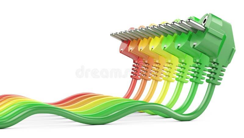 Concetto di valutazione di rendimento energetico Fila da spirito delle spine di corrente di colore illustrazione vettoriale