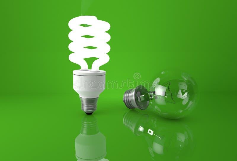 Concetto di vantaggio delle nuove tecnologie Ardore economizzatore d'energia fotografia stock libera da diritti