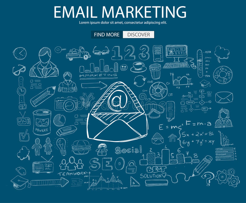 Concetto di vendita del email con stile di progettazione di scarabocchio royalty illustrazione gratis