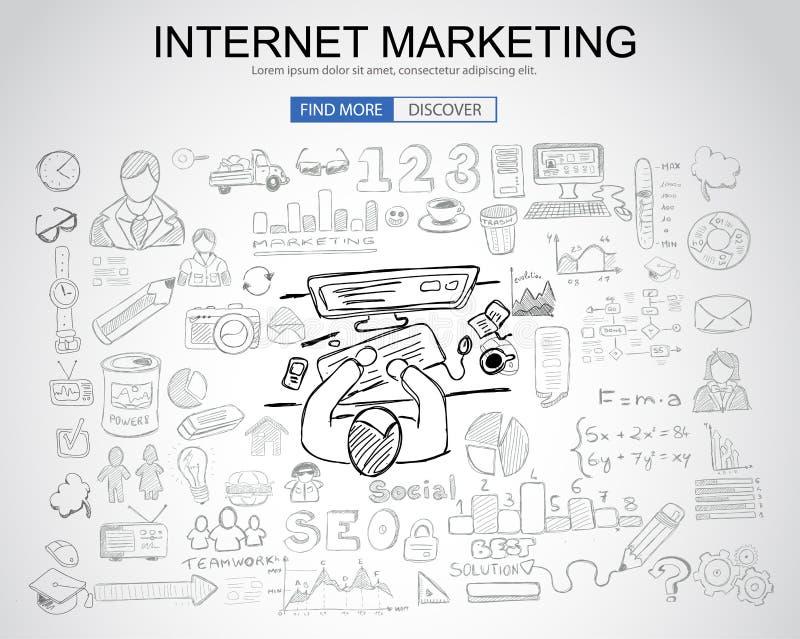 Concetto di vendita di Internet con stile di progettazione di scarabocchio di affari: su illustrazione di stock