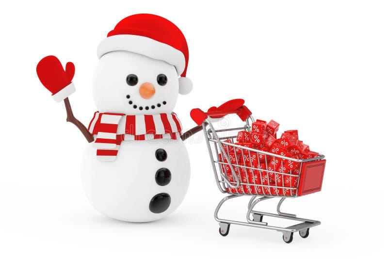 Concetto di vendita di Natale Pupazzo di neve in Santa Claus Hat Driven da una S illustrazione vettoriale