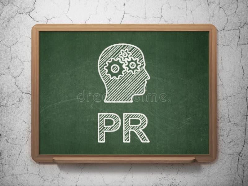 Concetto di vendita: Testa con gli ingranaggi e PR sopra illustrazione vettoriale