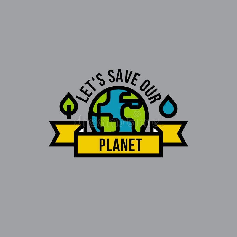 Concetto di verde di giorno dell'ambiente con il globo, la foglia e la goccia royalty illustrazione gratis