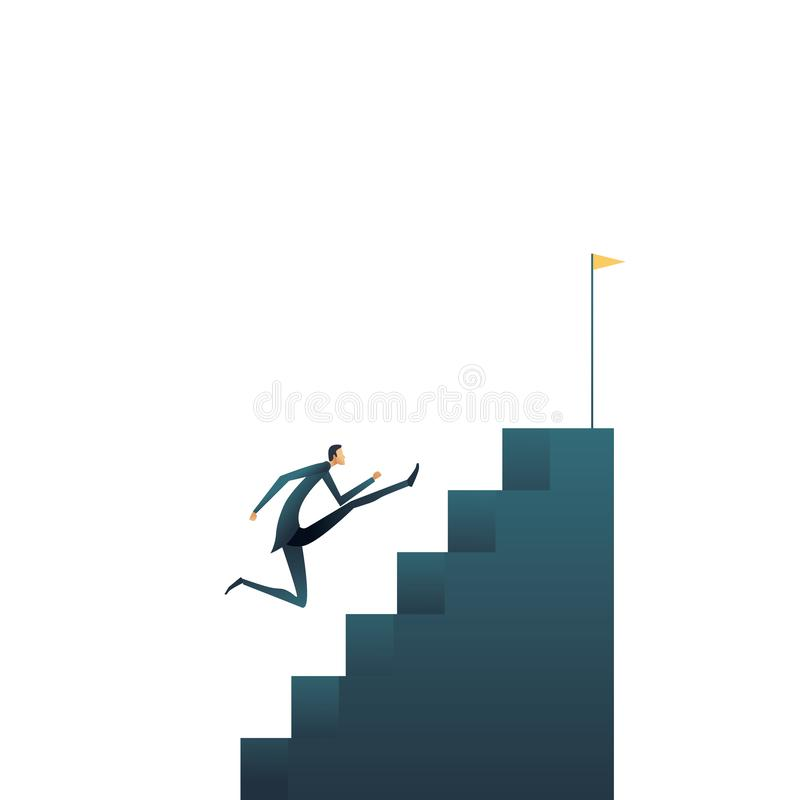 Concetto di vettore di ambizioni e di aspirazioni di carriera di affari Simbolo di crescita professionale, sviluppo, progresso e royalty illustrazione gratis