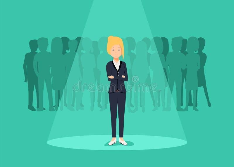 Concetto di vettore di assunzione o di noleggio di affari Ricerca del talento Donna di affari che sta nel riflettore o nel search illustrazione di stock