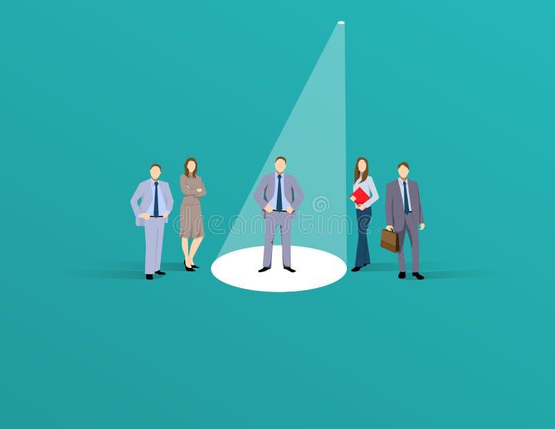 Concetto di vettore di assunzione o di noleggio di affari Ricerca del talento Uomo di affari che sta nel riflettore o proiettore  royalty illustrazione gratis