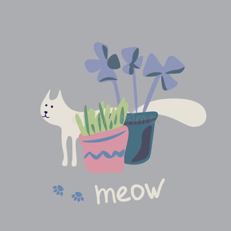 Concetto di vettore con il gatto sveglio nei colori morbidi royalty illustrazione gratis