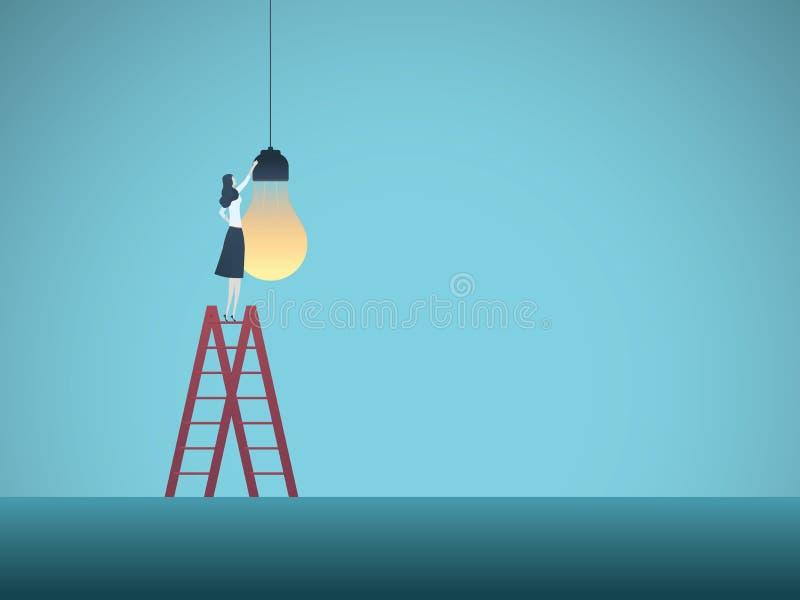 Concetto di vettore di creatività di affari Donna di affari che installa lampadina Simbolo delle idee creative, innovazione, succ illustrazione vettoriale