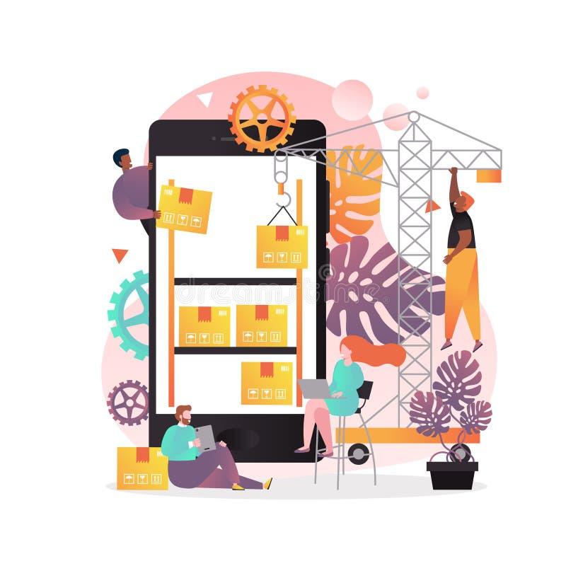 Concetto di vettore del app di stoccaggio del magazzino per l'insegna di web, pagina del sito Web royalty illustrazione gratis