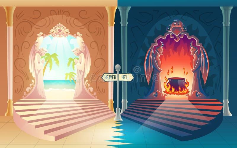 Concetto di vettore del fumetto delle entrate dell'inferno e di cielo royalty illustrazione gratis