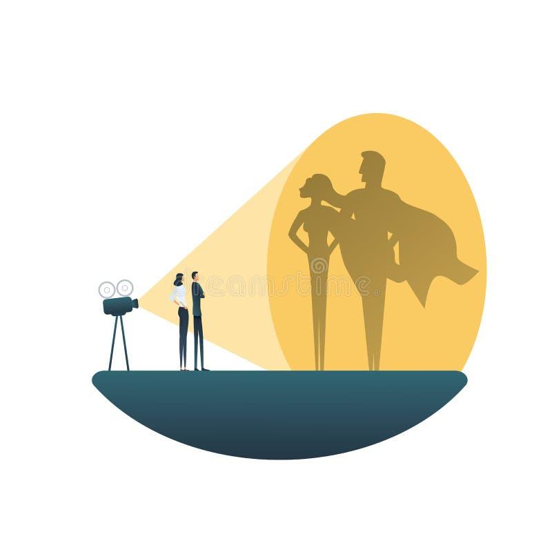 Concetto di vettore del gruppo del supereroe di affari Uomo e donna di affari Simbolo di potere, forza, direzione, coraggio e royalty illustrazione gratis