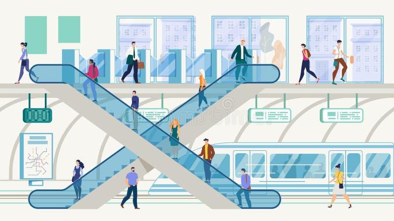 Concetto di vettore del hub di trasporto pubblico della metropoli illustrazione di stock