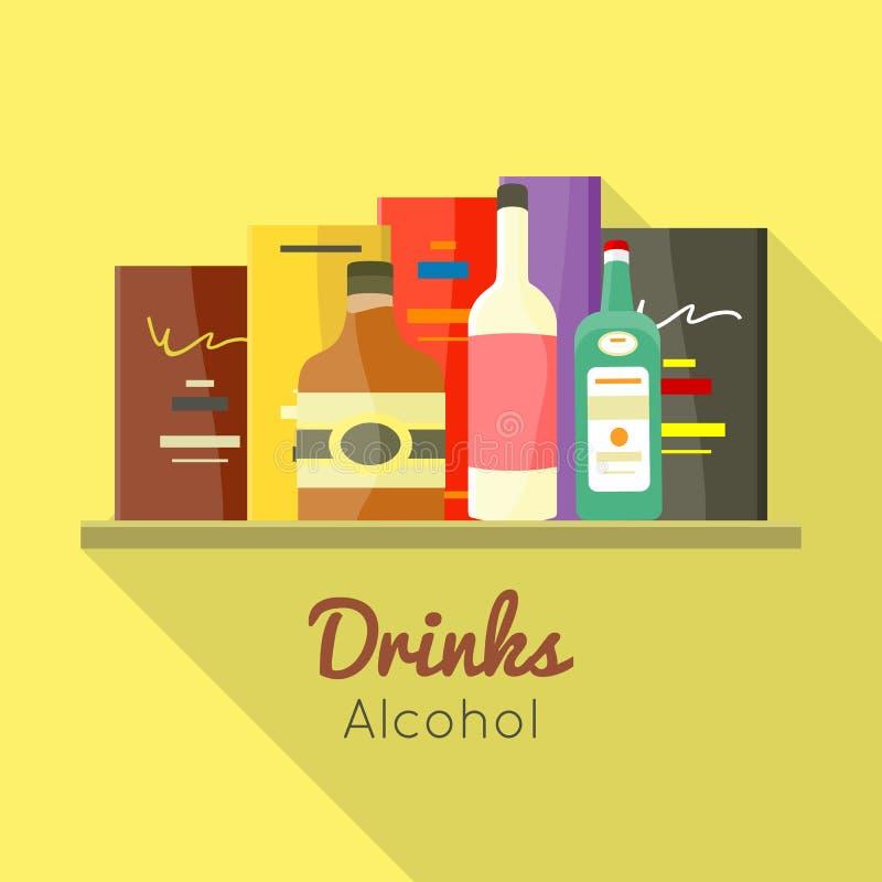 Concetto di vettore dell'alcool delle bevande nella progettazione piana royalty illustrazione gratis