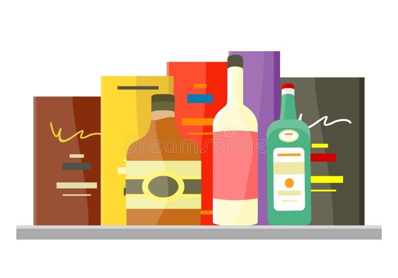 Concetto di vettore dell'alcool delle bevande nella progettazione piana illustrazione vettoriale