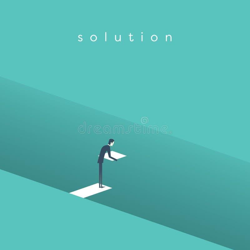 Concetto di vettore della soluzione di affari con il ponte della costruzione dell'uomo d'affari sopra il foro profondo Simbolo de illustrazione di stock