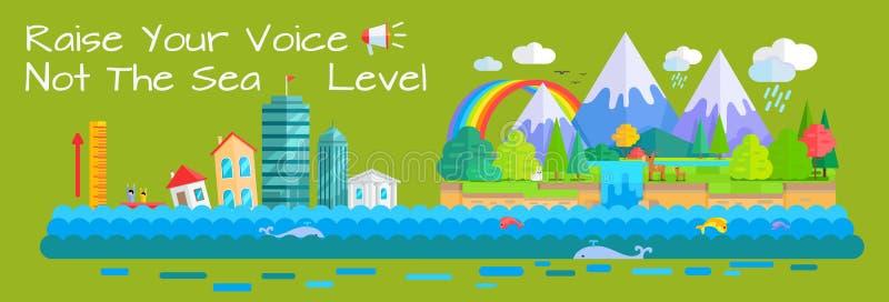 Concetto di vettore di aumento del livello del mare e di riscaldamento royalty illustrazione gratis