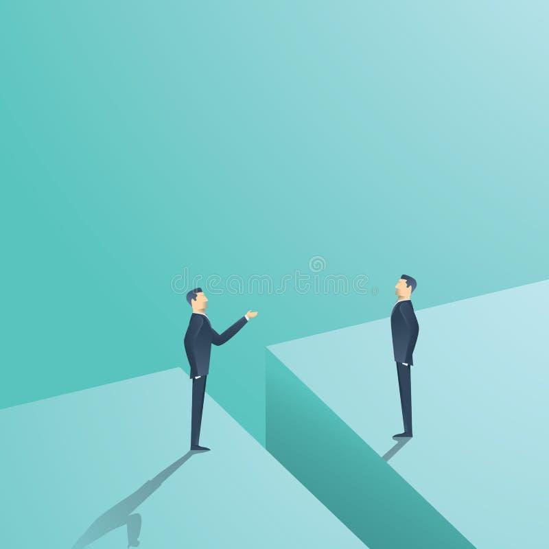 Concetto di vettore di negoziato o di comunicazione di affari Di due uomini avendo discussione, negoziante con la lacuna in mezzo royalty illustrazione gratis