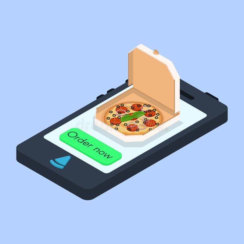 Concetto di vettore di ordine online della pizza illustrazione di stock