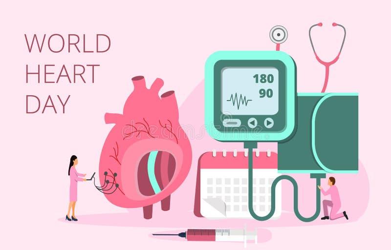 Concetto di vettore di giorno del cuore del mondo nel 28 settembre illustrazione di stock