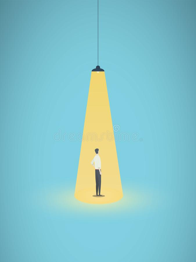 Concetto di vettore di noleggio e di assunzione di affari con la condizione dell'uomo d'affari nel riflettore giallo luminoso Sim illustrazione di stock