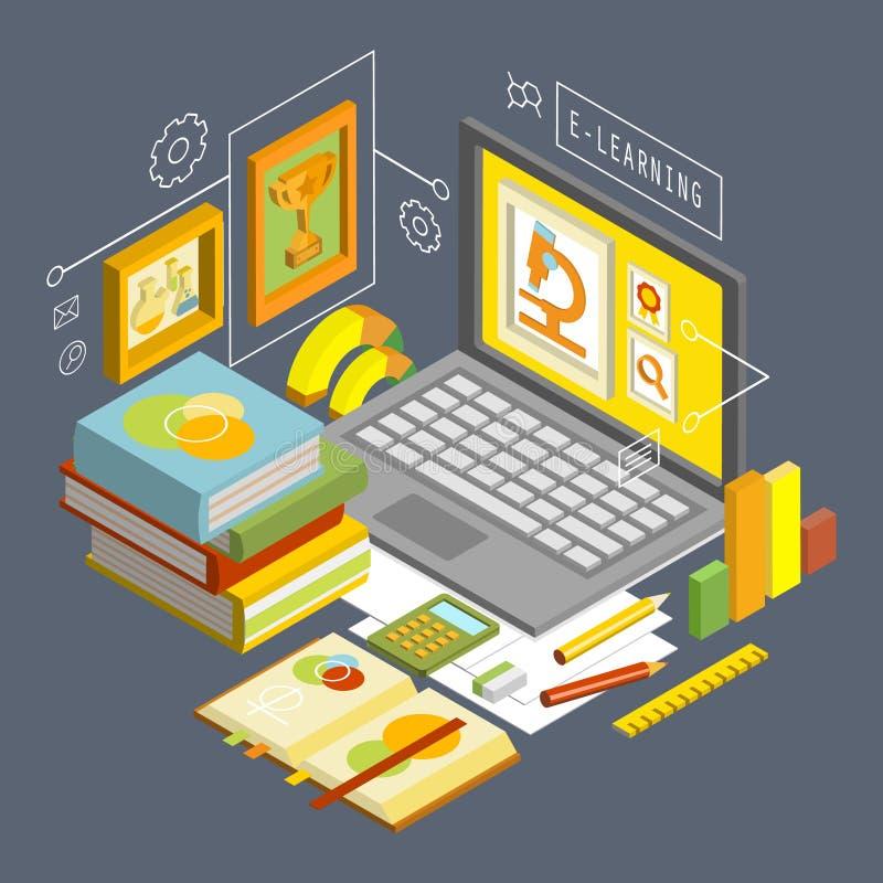 Concetto di vettore per istruzione online Progettazione isometrica piana 3d illustrazione vettoriale