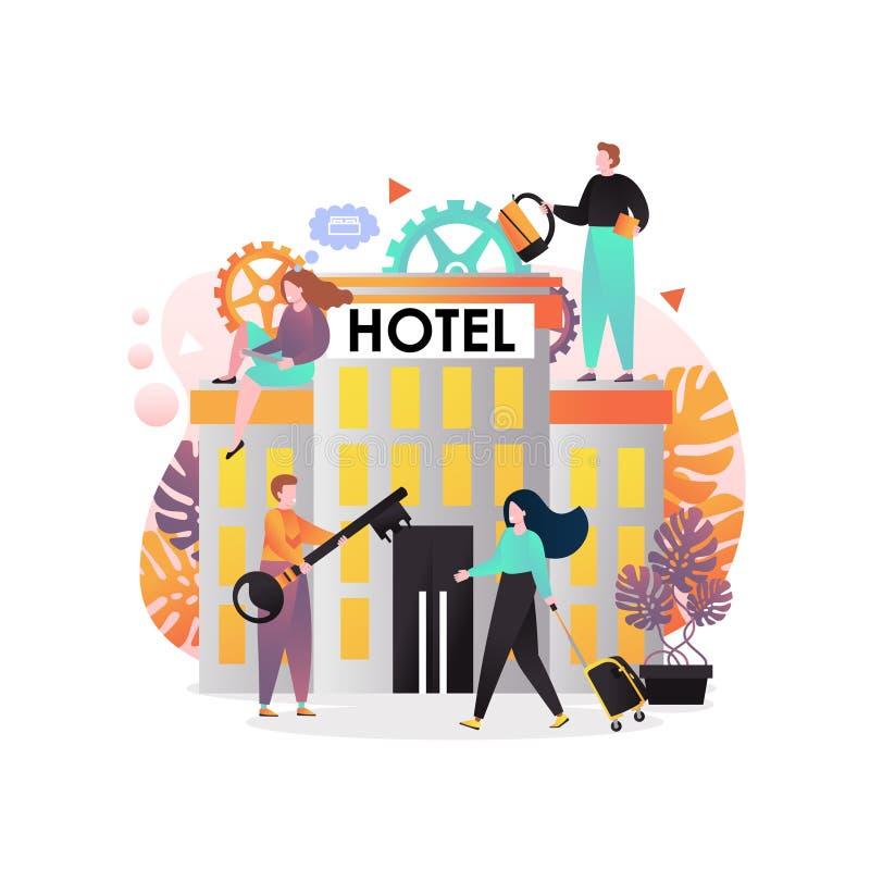 Concetto di vettore di servizi degli esercizi alberghieri per l'insegna di web, pagina del sito Web illustrazione di stock