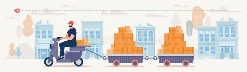 Concetto di vettore di servizio di distribuzione delle merci del negozio della città illustrazione di stock