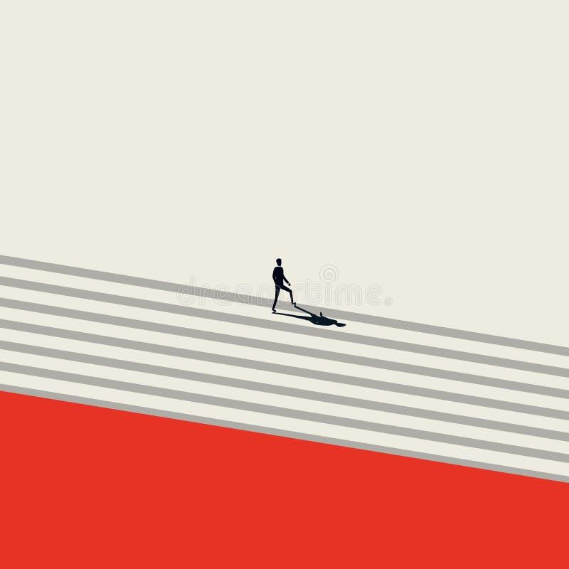 Concetto di vettore di sviluppo di carriera di affari nello stile artistico minimalista Simbolo di crescita, successo, scala corp illustrazione vettoriale