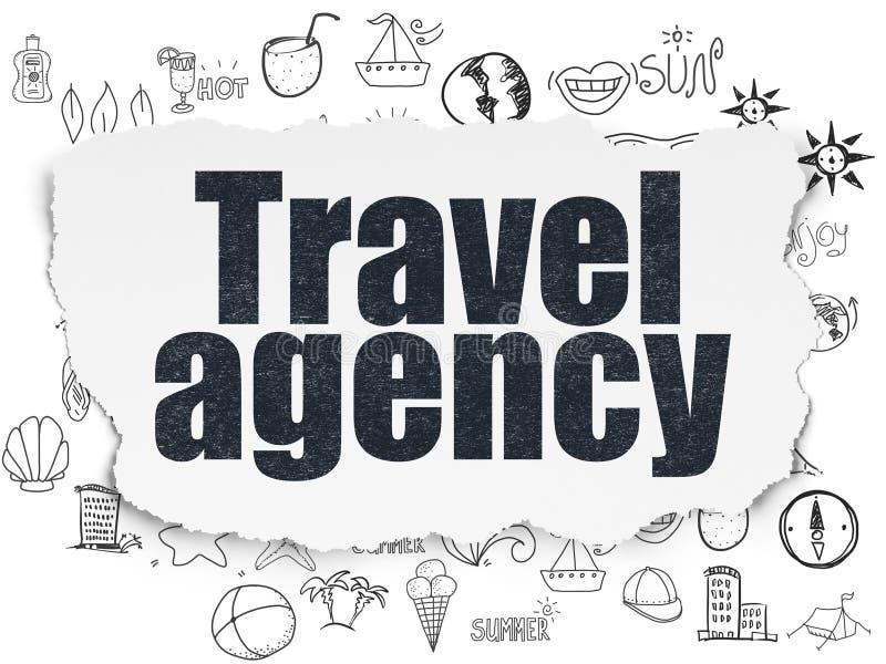 Concetto di viaggio: Agenzia di viaggi su fondo di carta lacerato illustrazione vettoriale