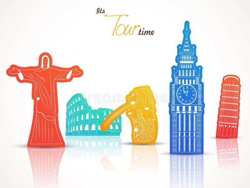 Concetto di viaggio con i monumenti di fama mondiale illustrazione vettoriale