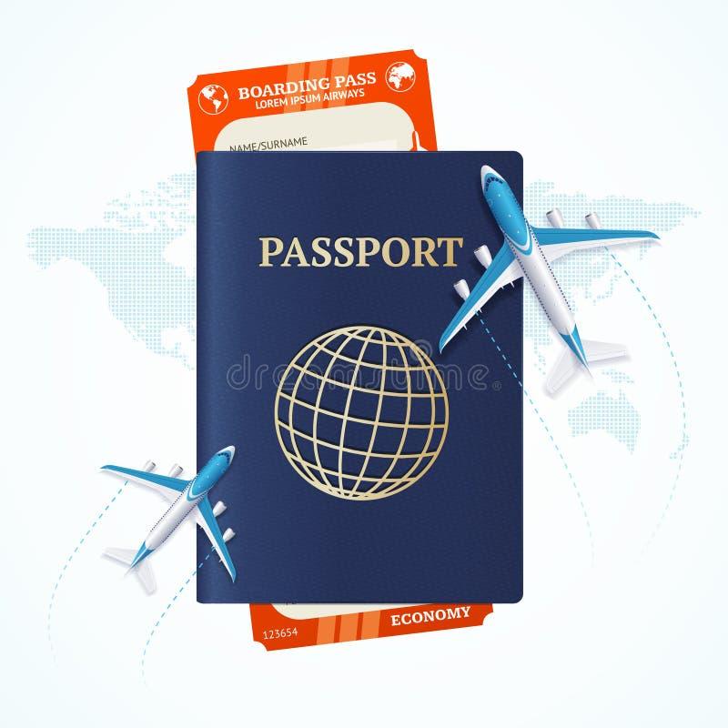 Concetto di viaggio con il passaporto ed il passaggio di imbarco Vettore illustrazione vettoriale