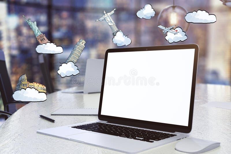 Concetto di viaggio con lo schermo in bianco del computer portatile e la l di fama mondiale disegnata illustrazione di stock