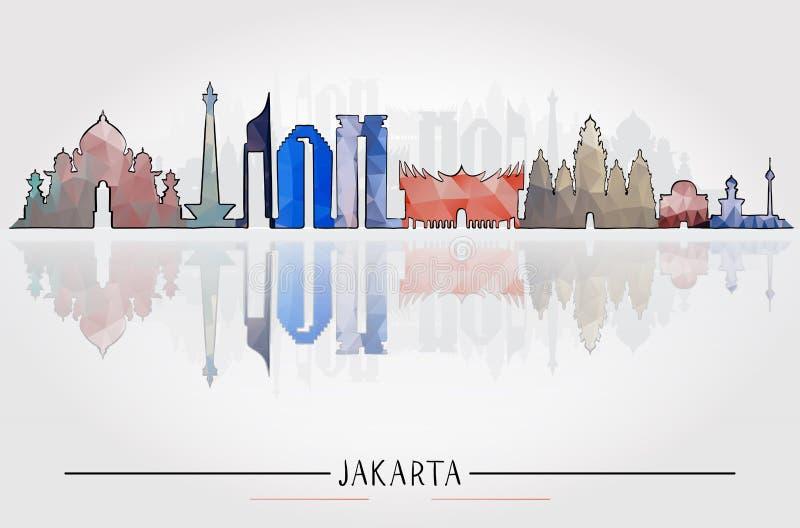 Concetto di viaggio d'affari con architettura storica di Jakarta illustrazione vettoriale