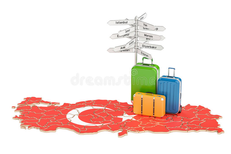 Concetto di viaggio della Turchia Valigie con il cartello sulla mappa turca, illustrazione vettoriale