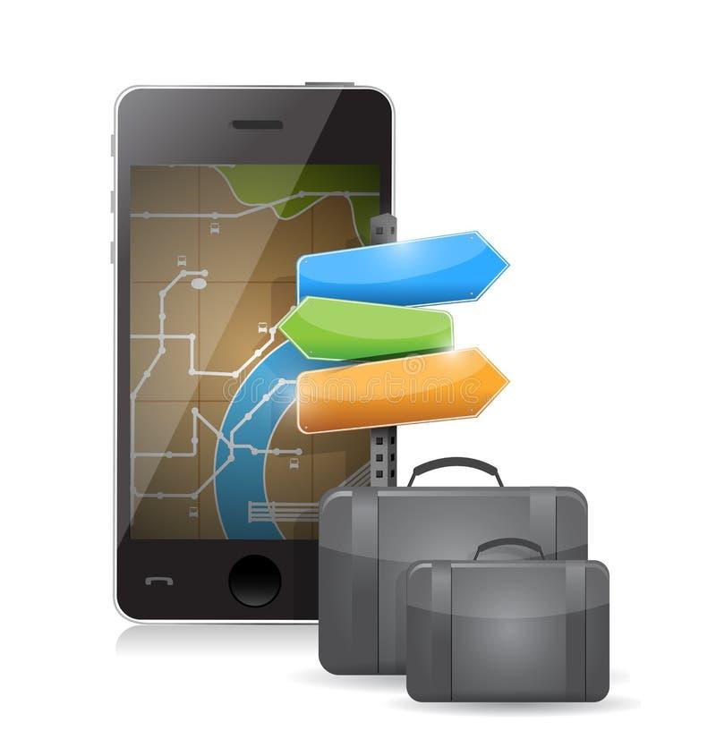 Concetto di viaggio della valigia della mappa del telefono illustrazione vettoriale