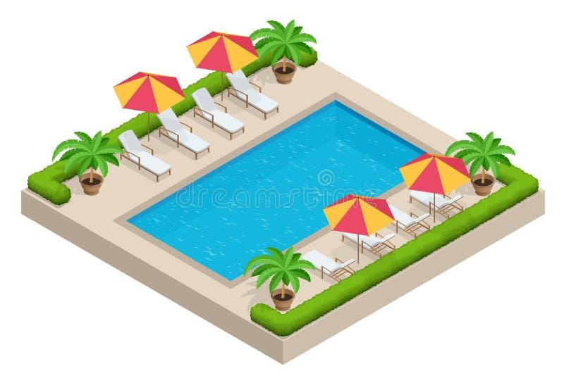 Concetto di viaggio di estate Piscina, ombrello del parasole, sedie di spiaggia Vettore isometrico piano 3d della piscina royalty illustrazione gratis
