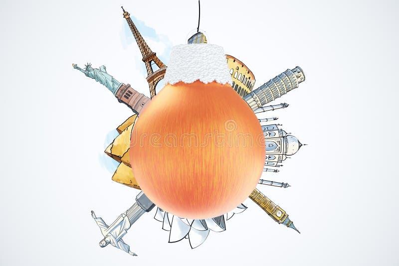 Concetto di viaggio di Natale con la palla e il landma rossi dell'albero di Natale royalty illustrazione gratis