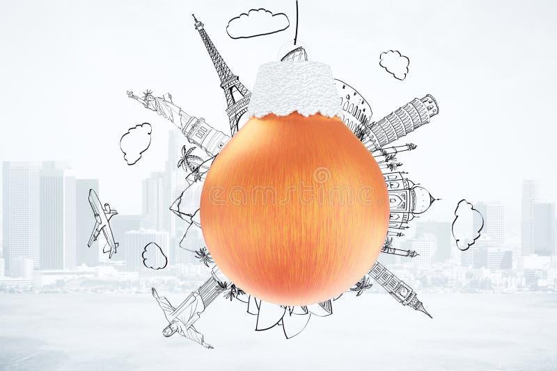 Concetto di viaggio di Natale con la palla rossa dell'albero di Natale e disegnato illustrazione di stock