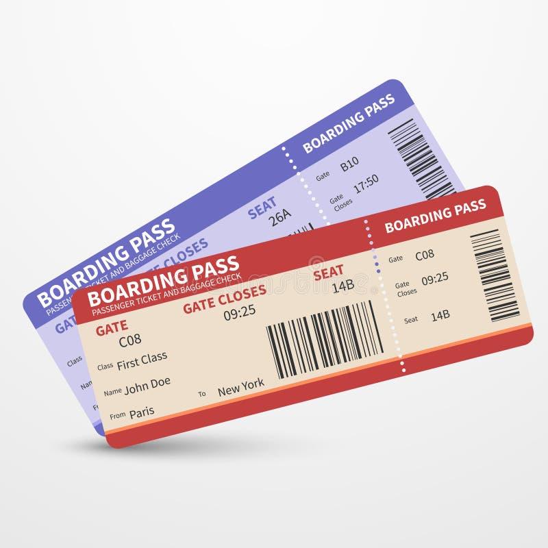 Concetto di viaggio di viaggio di vettore dei biglietti del passaggio di imbarco di linea aerea illustrazione di stock