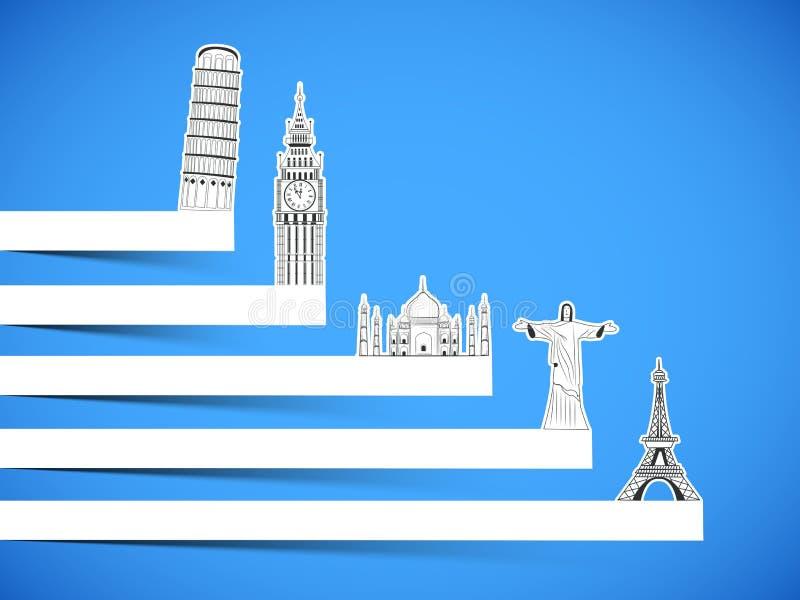 Concetto di viaggio e di giro con i monumenti famosi illustrazione di stock