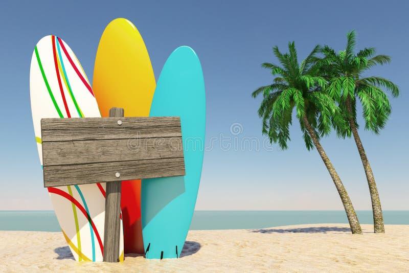 Concetto di viaggio e di turismo Surf variopinti di estate con la direzione di legno in bianco Signbard in spiaggia tropicale di  royalty illustrazione gratis