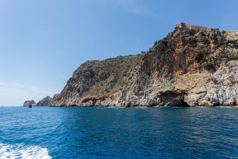 Concetto di viaggio di estate Castle Rock di Alanya immagine stock