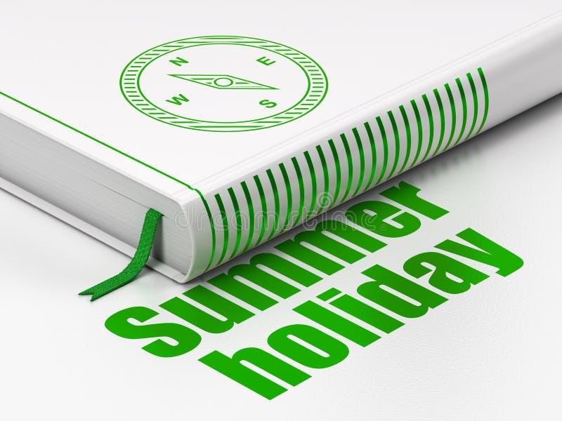 Concetto di viaggio: prenoti la bussola, vacanza estiva su fondo bianco royalty illustrazione gratis