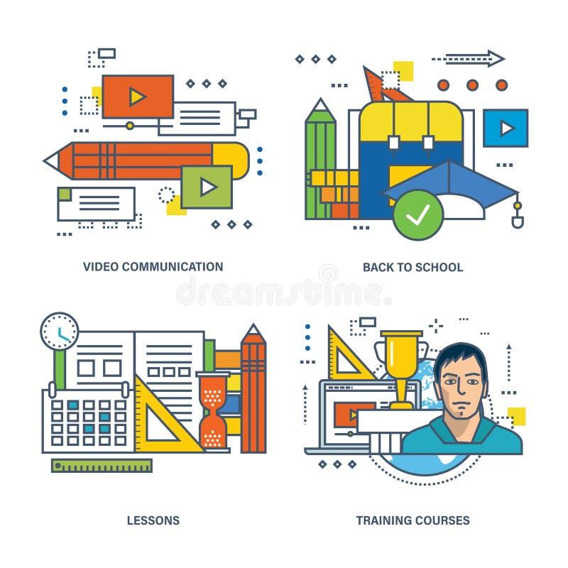 Concetto di video comunicazione, di nuovo alla scuola, lezione, corsi di formazione illustrazione di stock